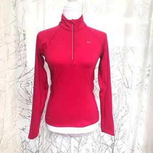 Nike pink dri-fit 1/4 zip long sleeve shirt
